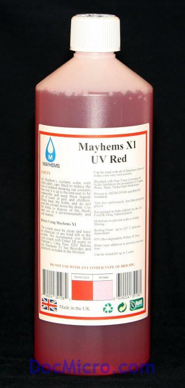liquide de protection x1 rouge uv 1 litre mayhems watercooling liquide de refroidissement. Black Bedroom Furniture Sets. Home Design Ideas