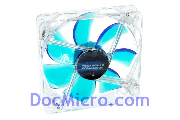 Phobya-Ventilateur 120*120*25mm G-silent 12 - 1500RPM - LED Bleu